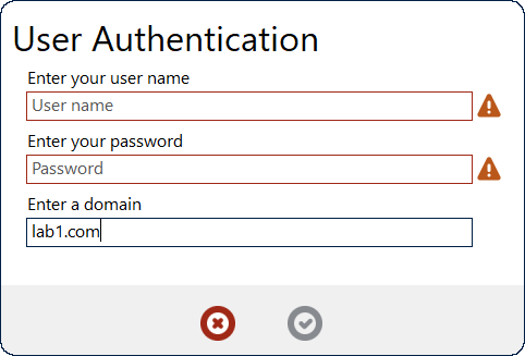 A basic UserAuth action dialog