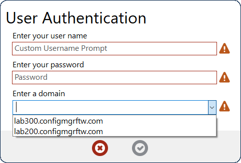 A UserAuth action dialog with customized prompts and a domain list